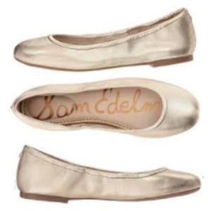 Sam Edelman Floyd Flats Soft Molten Gold leather
